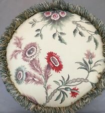 ROSETREE ROUND ACCENT PILLOW Decorative Throw Fringe Floral Tamborine 100%Cotton