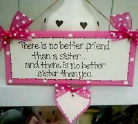 Shabby pretty Personalised Sister wooden sign plaque gift chic