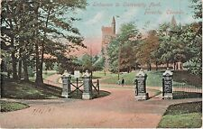 Entrance to University Park in Toronto, Ontario, Canada - Postmarked in 1907