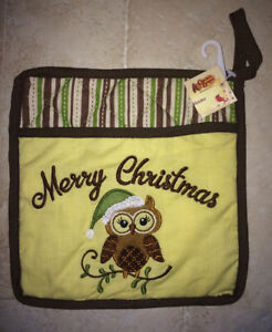 CRACKER BARREL OWL POT HOLDER - MERRY CHRISTMAS - BRAND NEW WITH TAGS