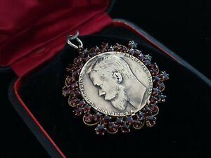 RARE Nicholas II Tsar Russia Empire Antique Russian Gold Pendant Military Jewel