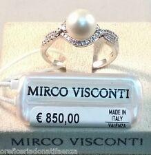 Anello oro bianco 18kt 750/°°° MIRCO VISCONTI con Diamanti e Perla D'acqua dolce