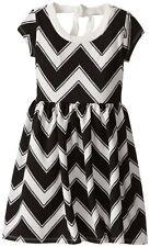 BONNIE JEAN Girls Black White Chevron Tie Back Jacquard A-line Dress 5 5T Casual