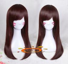 60CM Overwatch D.VA dva Cosplay Props Chestnut Long Wig One Size Hairpiece