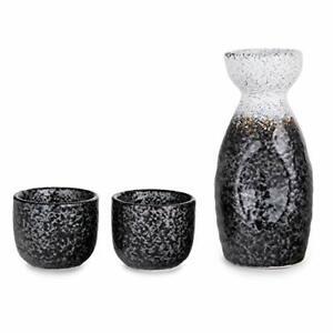 Kagetsu Sake Set 5 fl oz Tokkuri Bottle w/ Two 1.5oz Sake Ochoko Cups (White)