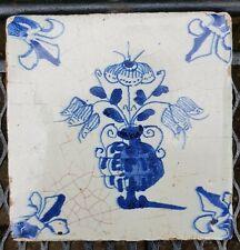 Antique 18th C. Dutch Delft Blue White Flower Pot Tile Fleur de Lis Corners