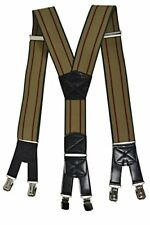 Mens XXL Extra Wide, Heavy Duty X-Shape Braces  Suspenders with 6 Clips Design