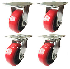 "6"" x 2-1/2"" Heavy Duty Red Polyurethane on Cast Iron Caster 2 Swivels & 2 Rigids"