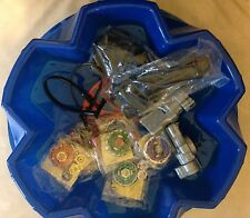 6 Random Beyblades with Stadium And 2 x Grips & 2 x Snipe Launchers and Ripcords