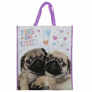 Large Reusable Shopping Bags Womens Ladies Gym Travel Pugs And Kisses Reusable