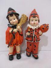 "Vintage Style Halloween Little Boy & Girl  Resin Figurine  Decor Decoration 7"""