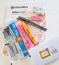 Filler Paper, Index Cards, Glue Sticks, Highlighters, Pens & Pencils Lot