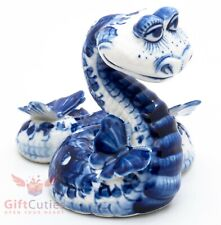 Gzhel porcelain figurine of the Snake with a butterfly handmade Гжель