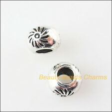 12Pcs Tibetan Silver Tone Round Flower Spacer Beads Charms 7mm
