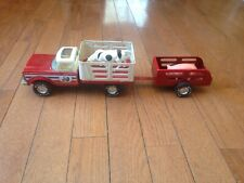 Vintage 1970's Nylint Farms Pressed Steel Stake Cattle Truck & Trailer Nice!