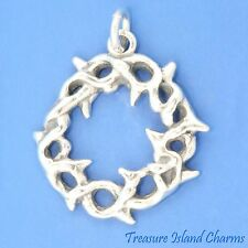 JESUS CROWN OF THORNS .925 Solid Sterling Silver Charm or Pendant MADE IN USA