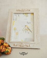 Shabby Chic Fleur Photo Frame Hand Painted Solid Wood Picture Frame Farmhouse