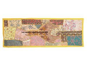 152cm Fou Couette Lourdement Perlé Sequin Sari Décor Vintage Tapisserie Mural