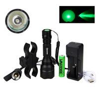 4000LM Q5 XM-L Green LED Flashlight Hunting Torch Tactical Light + 18650 Battery