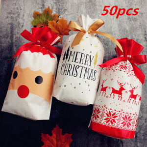 50pcs Christmas Party Bags Gift Drawstring Cello Cellophane Biscuit Favour Boxes