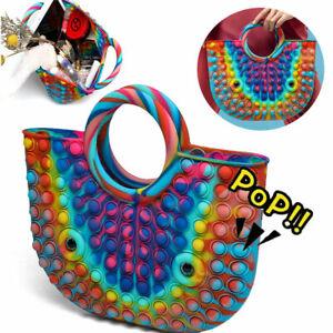 Push it Bubble Sensory Bag Fidget Toy Simple Pop Purse Women Handbag Girls Gift