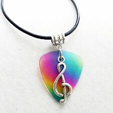 Rainbow Guitar Pick Treble Clef Music Pendant Necklace ladies Mens Girls Gift