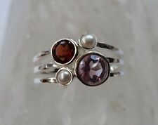 605 Amethyst,Garnet.Pearl Solid 925 Sterling Silver ring size O/Q  rrp$79.95