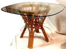 Glass Top Rattan Kitchen or Patio Table