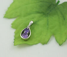 Sassi AP5322 925 Sterling Silver Amethyst Coloured CZ Pendant & 18'' Curb Chain