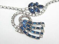 Vtg Montana Baguettes & Dark Sapphire Rhinestones Necklace Fab design D & E ?