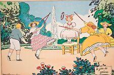 -jeu de grâces, jeu d'enfants dans un jardin, litho Barré Dayez 1954