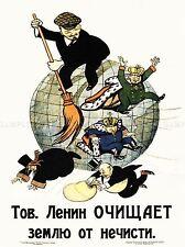Propaganda Comunismo Lenin ANTI capitalista rivoluzione sovietica POSTER 1950pylv