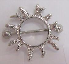 Shield Barbell Ring 14 gauge 14g Surgical Steel Sun Burst Nipple Hoop