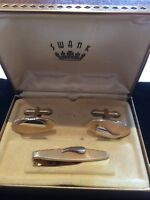 Vintage Gold Plated Cufflinks And Tie Clip ~ Boxed ~ SWANK