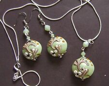 MINT GREEN GINGKO LAMPWORK GLASS PENDANT AND EARRING SET