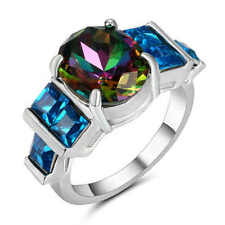 Size 8 Rainbow topaz&Blue Sapphire Ring 18K White Gold Filled Wedding Band Ring