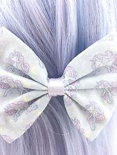 Unicorn and Moon Printed Kawaii Pastel Purple Medium Fabric Hair Bow - Fairy Kei