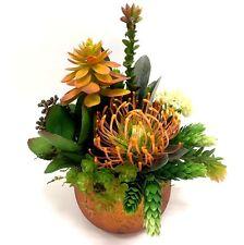 Orange Mix of Kalanchoe, Protea and Succulents Floral Arrangement