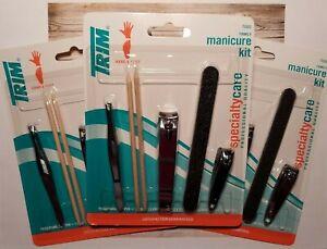 3 Trim Family Manicure 5 piece Kit Fingernail Pedicure Toenail Clippers Tweezers