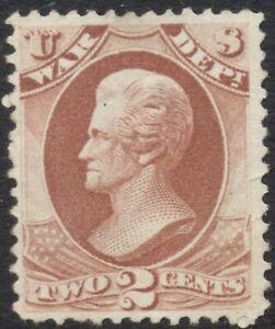 US Official O84 Dept War, 2cent, Andrew Jackson, NG, Scott US$110 = CAD$140