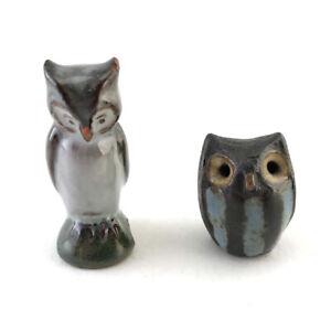 Lot: 2 Vintage German & Austrian Miniature Pottery Owl Figurines, Mid-20th C.