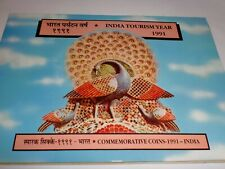 """- INDIA -  3 COIN PROOF SET - """" INDIA TOURISM YEAR """" - 1991 - RS. 5, 2 & 1"""