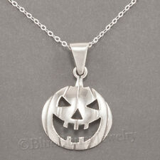 "Jack-O-Lantern Charm Pendant 925 Sterling Silver 18"" Necklace Halloween Pumpkin"