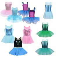 Kids Girls Gymnastics Ballet Tutu Dress Shiny Leotard Skirt Fairy Dance Costume