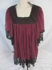 American Glamour Badgley Mischka Maroon Red Tunic Blouse Shirt Women's XL - F90