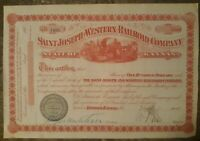 Saint Joseph And western Railroad Company Stock share 1870 Mint Condition Signed