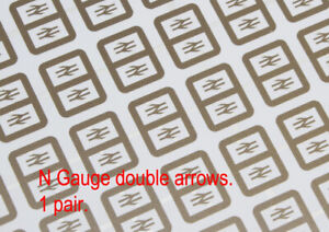 2mm scale 'N' etched stainless steel 4.5mm BR Railfreight double arrows 1 pair.