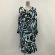 ARTIGIANO Italy Blue Pattern Viscose V Neck Midi Dress Womens Size UK 20 37633