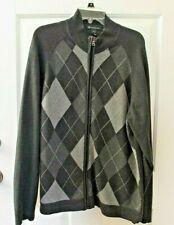 INC Sweater Jacket XXL 2XL Gray Men's Argyle Zip Up Casual Winter Spring Cotton