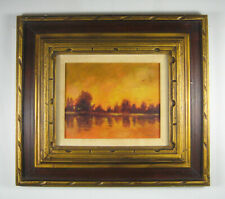 L Hochberg Painting Landscape Framed Signed 1974 Acrylic 18.75 x 16.75 inches